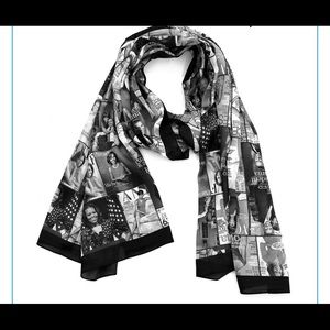 Michelle Obama Magazine Cover Scarf Black/White